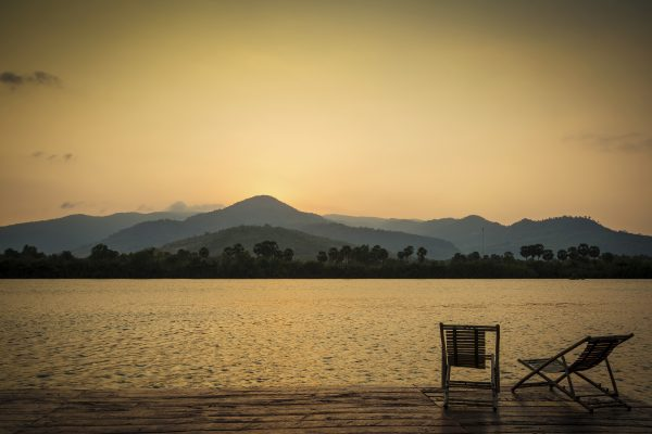 tropical exotic sunset riverside view in kampot cambodia asia